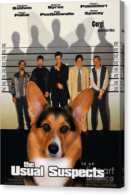 The Usual Suspects Canvas Print - Welsh Corgi Pembroke Art Canvas Print - The Usual Suspects Movie Poster by Sandra Sij