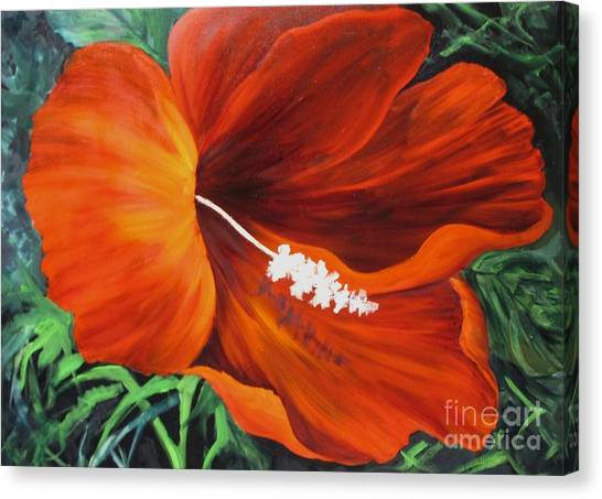 Wendy's Red Hibiscus Canvas Print