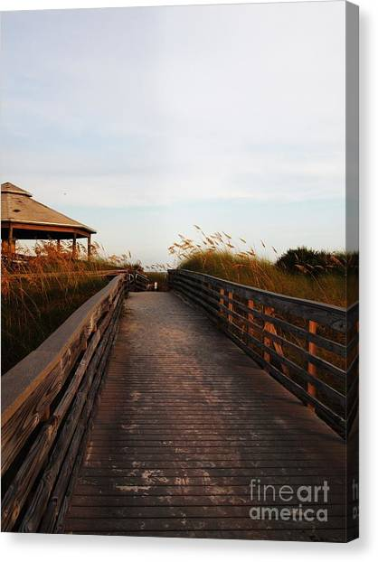 Went For A Stroll On The Boardwalk Canvas Print by Meghan Pettis