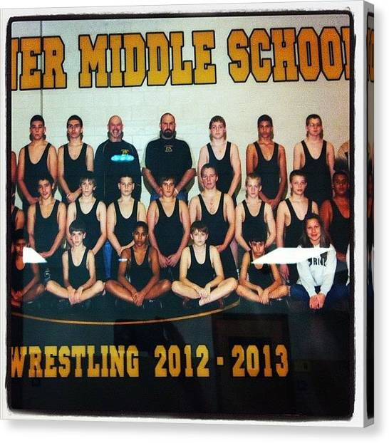 Wrestling Canvas Print - Went To Get Dom's Physical For Summer by Megan Batrez