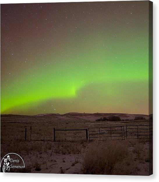 Aurora Borealis Canvas Print - Went To Oilfield For A Week. Hope Will by Denis Semenov