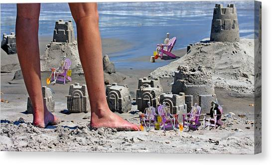 Sand Castles Canvas Print - We're Moving In by Betsy Knapp