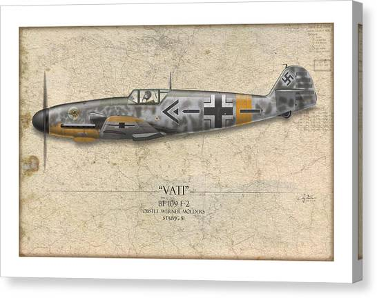 Luftwaffe Canvas Print - Werner Molders Messerschmitt Bf-109 - Map Background by Craig Tinder