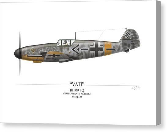 Luftwaffe Canvas Print - Werner Molders Messerschmitt Bf-109 - White Background by Craig Tinder