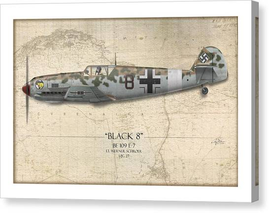 Luftwaffe Canvas Print - Werner Schroer Messerschmitt Bf-109 - Map Background by Craig Tinder