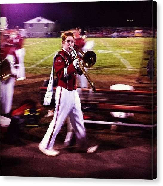 Trombones Canvas Print - Wes In His Last Marching Uniform Game by Kate Timmons