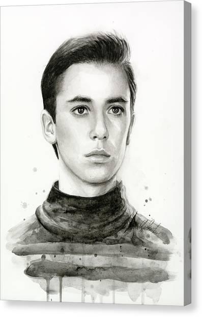 Nerd Canvas Print - Wesley Crusher Star Trek Fan Art by Olga Shvartsur