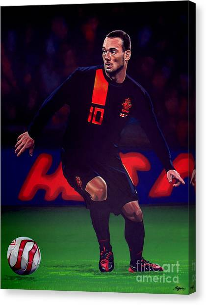 Soccer Players Canvas Print - Wesley Sneijder  by Paul Meijering