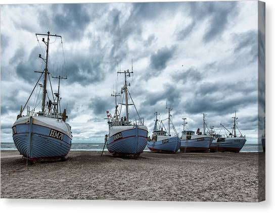 Low Tide Canvas Print - West Coast Fishing Boats. by Leif L??ndal