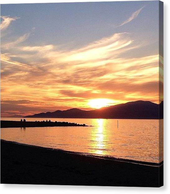 White Sand Canvas Print - West Coast Sunset by Connie Pretula