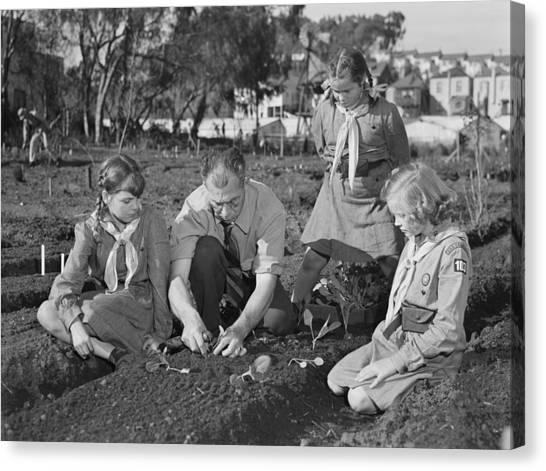 Girl Scouts Canvas Print - West Coast Victory Gardens At San by Everett