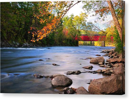 West Cornwall Covered Bridge- Autumn  Canvas Print
