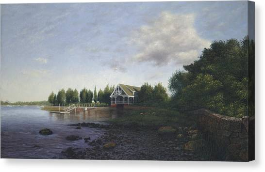Buzzards Canvas Print - West Falmouth Boathouse At Low Tide by Julia O'Malley-Keyes