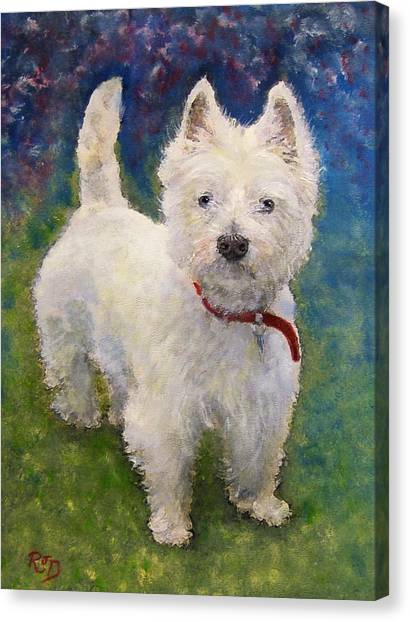 West Highland Terrier Holly Canvas Print