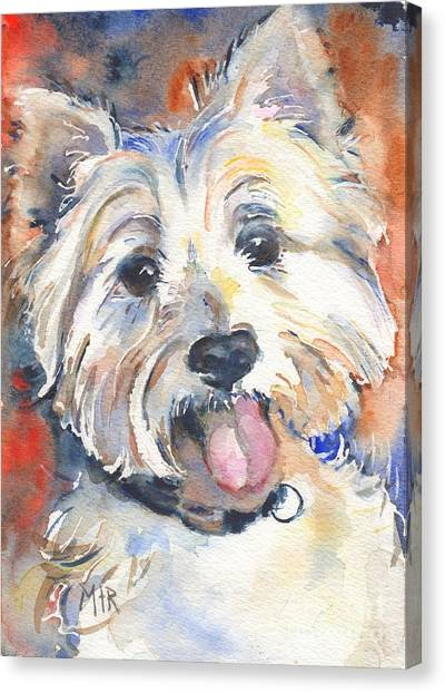 Watercolor Pet Portraits Canvas Print - West Highland Terrier by Maria's Watercolor