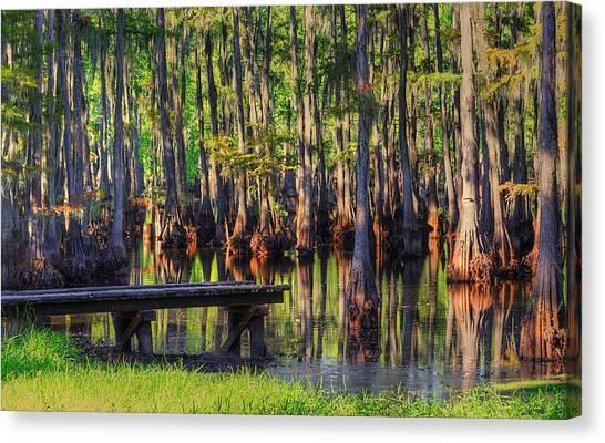 West Monroe Swamp Dock Canvas Print
