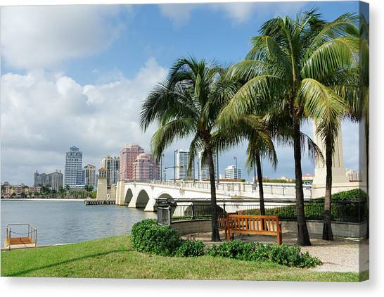 West Palm Beach Cityscape Viewed Across Intracoastal Waterway Canvas Print by NoDerog
