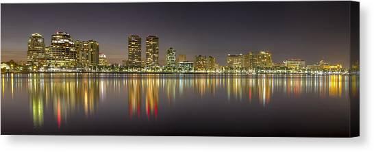 Flagler Beach Canvas Print - West Palm Beach Skyline by Debra and Dave Vanderlaan