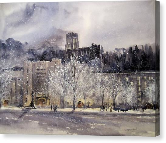 Trees In Snow Canvas Print - West Point Winter by Sandra Strohschein