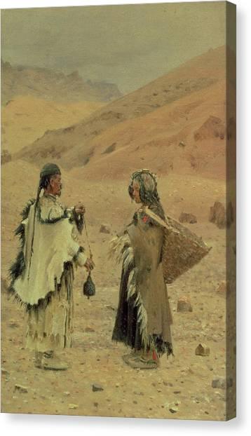 Yaks Canvas Print - West Tibetans, 1875 Oil On Canvas by Piotr Petrovitch Weretshchagin