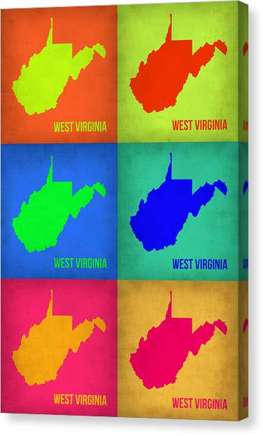 West Virginia Canvas Print - West Virginia Pop Art Map 1 by Naxart Studio