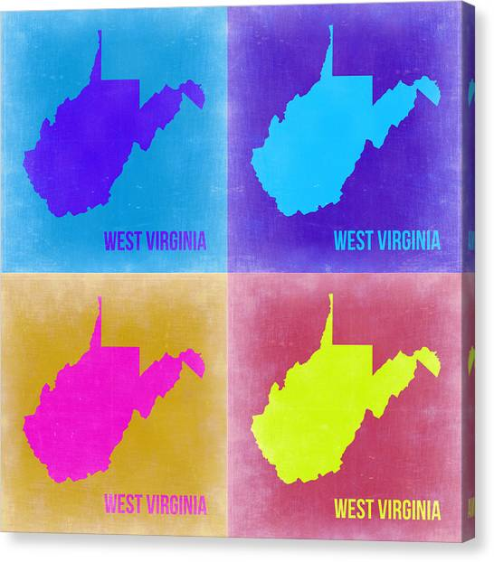 West Virginia Canvas Print - West Virginia Pop Art Map 2 by Naxart Studio
