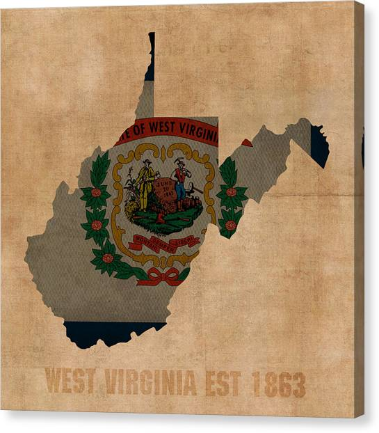 With Canvas Print - West Virginia State Flag Map Outline With Founding Date On Worn Parchment Background by Design Turnpike