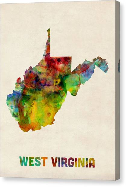 West Virginia Canvas Print - West Virginia Watercolor Map by Michael Tompsett