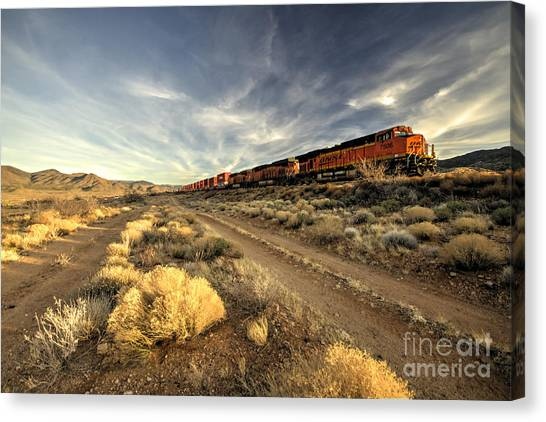 Freight Trains Canvas Print - Westbound Freight  by Rob Hawkins