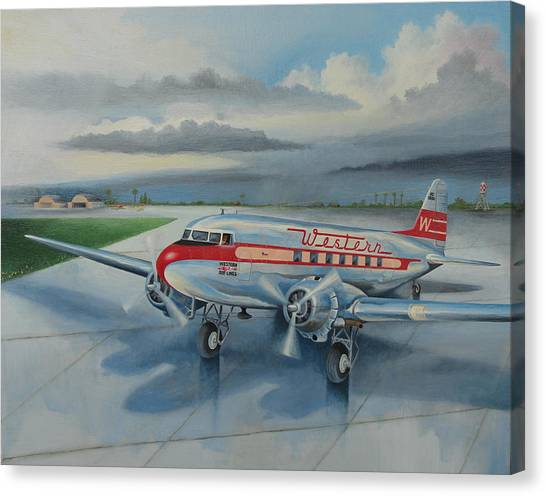 Western Airlines Dc-3 Canvas Print