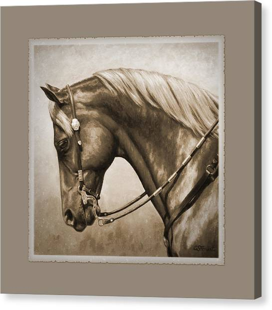 Western Bridle Canvas Print - Western Horse Aged Photo Fx Sepia Pillow by Crista Forest