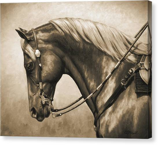 Horses Canvas Print - Western Horse Painting In Sepia by Crista Forest