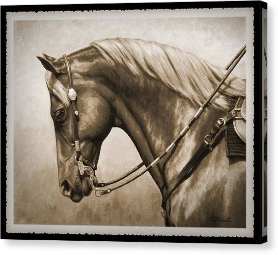 Western Riding Canvas Print - Western Horse Old Photo Fx by Crista Forest