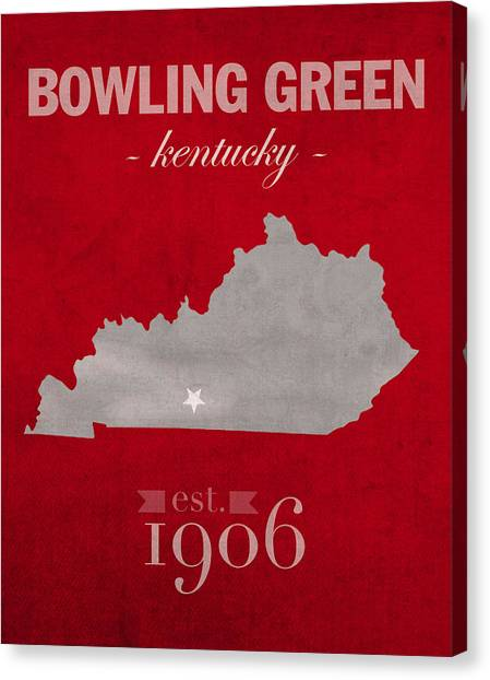 Conference Usa Canvas Print - Western Kentucky University Hilltoppers Bowling Green Ky College Town State Map Poster Series No 125 by Design Turnpike