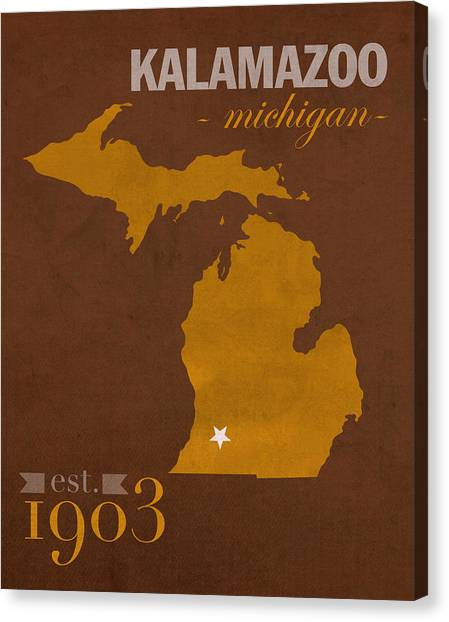 Bronco Canvas Print - Western Michigan University Broncos Kalamazoo Mi College Town State Map Poster Series No 126 by Design Turnpike