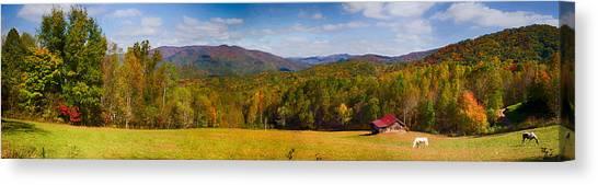 Western North Carolina Horses And Mountains Panorama Canvas Print