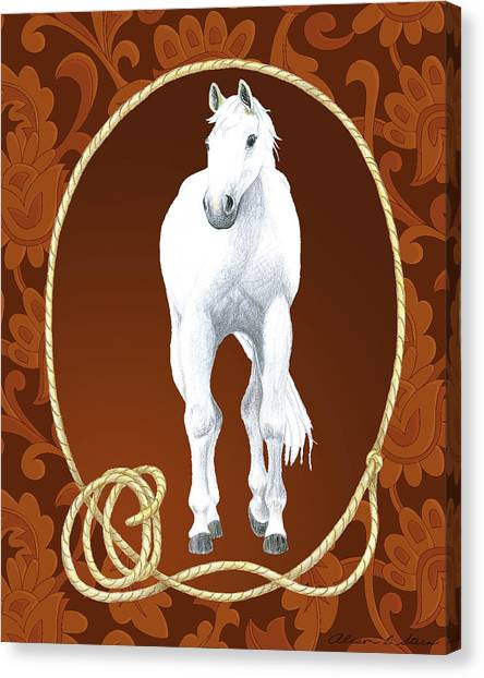 Western Roundup Standing Horse Canvas Print