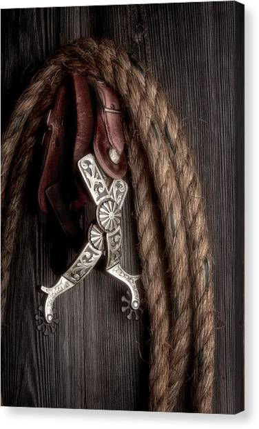 Rope Canvas Print - Western Spurs - Revisited by Tom Mc Nemar