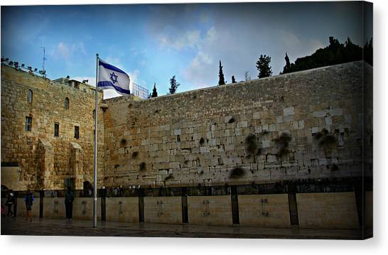 Islam Canvas Print - Western Wall And Israeli Flag by Stephen Stookey
