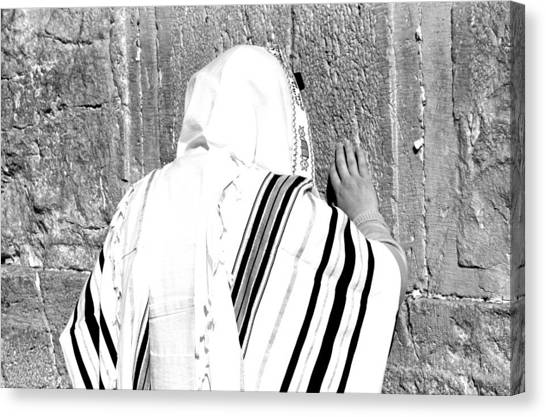 Judaism Canvas Print - Western Wall Devotion by Stephen Stookey