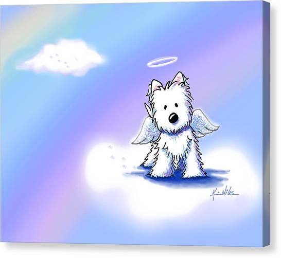 Westie Angel At Rainbow Bridge Canvas Print