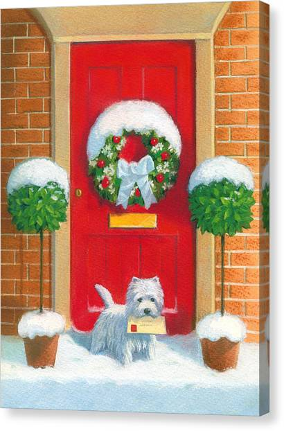 Wreath Canvas Print - Westie Post by David Price