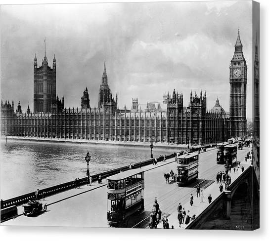 Palace Of Westminster Canvas Print - Westminster Bridge And Parliament by Library Of Congress