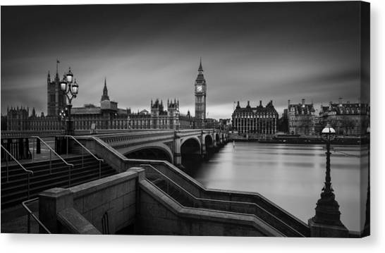 Modern Architecture Canvas Print - Westminster Bridge by Oscar Lopez