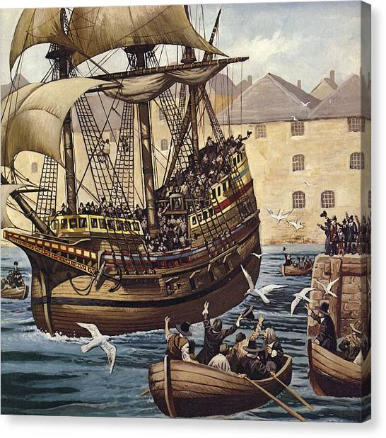 Pilgrims Canvas Print - Westward Ho  The Mayflower Leaves Plymouth by Mike White