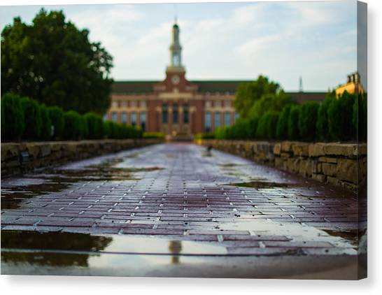Oklahoma State University Canvas Print - Wet Bricks To The Library by Nathan Hillis
