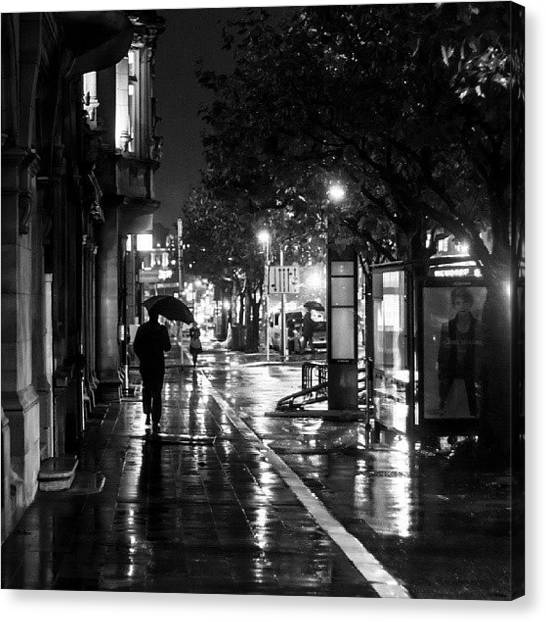 Street Scenes Canvas Print - Wet City Streets by Kelly Love
