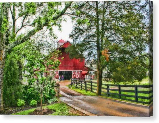 Landscape - Barn - Wet Day On The Farm Canvas Print by Barry Jones