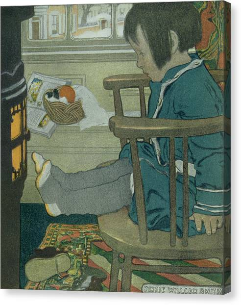 Toes Canvas Print - Wet Feet, 1902 by Jessie Willcox Smith