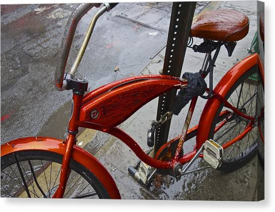 Wet Orange Bike   Nyc Canvas Print